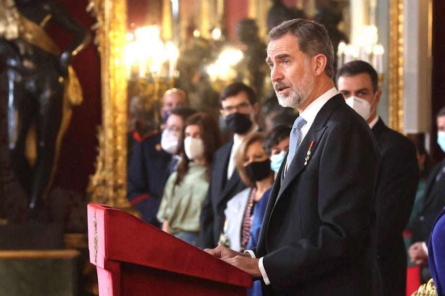 Le roi Felipe VI d'Espagne à Madrid, le 28 janvier 2021