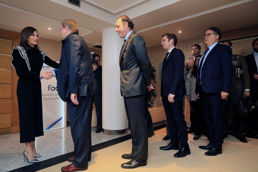 La reine Letizia d'Espagne à une réunion de la FAD à Madrid, le 10 décembre 2019