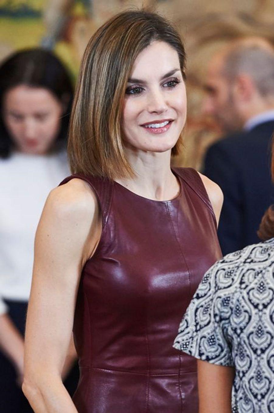 La reine Letizia d'Espagne au Palais de la Zarzuella à Madrid, le 30 octobre 2015