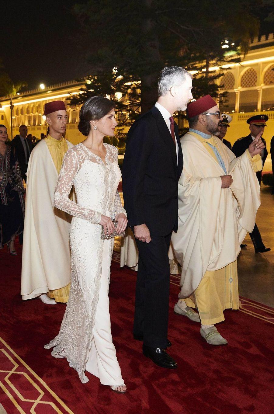 La reine Letizia et le roi Felipe VI d'Espagne avec le roi Mohammed VI et le prince Moulay El Hassan du Maroc à Rabat, le 13 février 2019