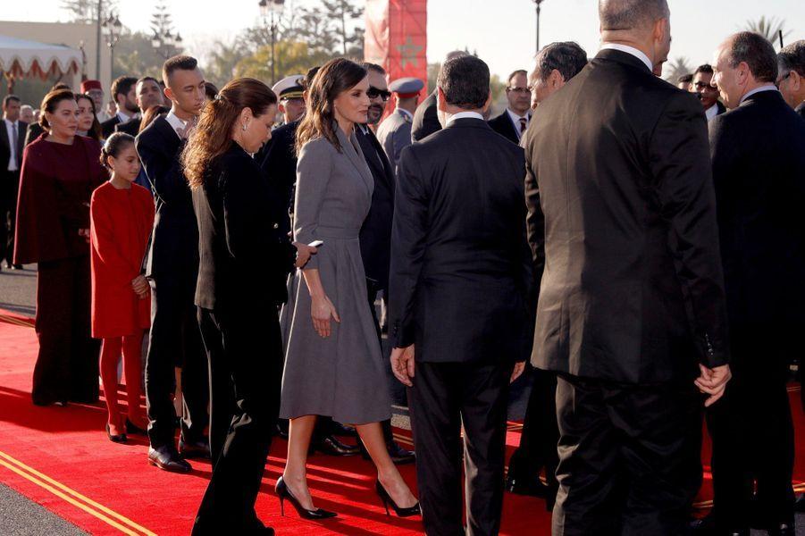 La reine Letizia d'Espagne avec la famille royale du Maroc à Rabat, le 13 février 2019