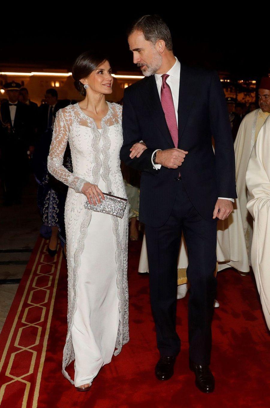 La reine Letizia et le roi Felipe VI d'Espagne à Rabat, le 13 février 2019