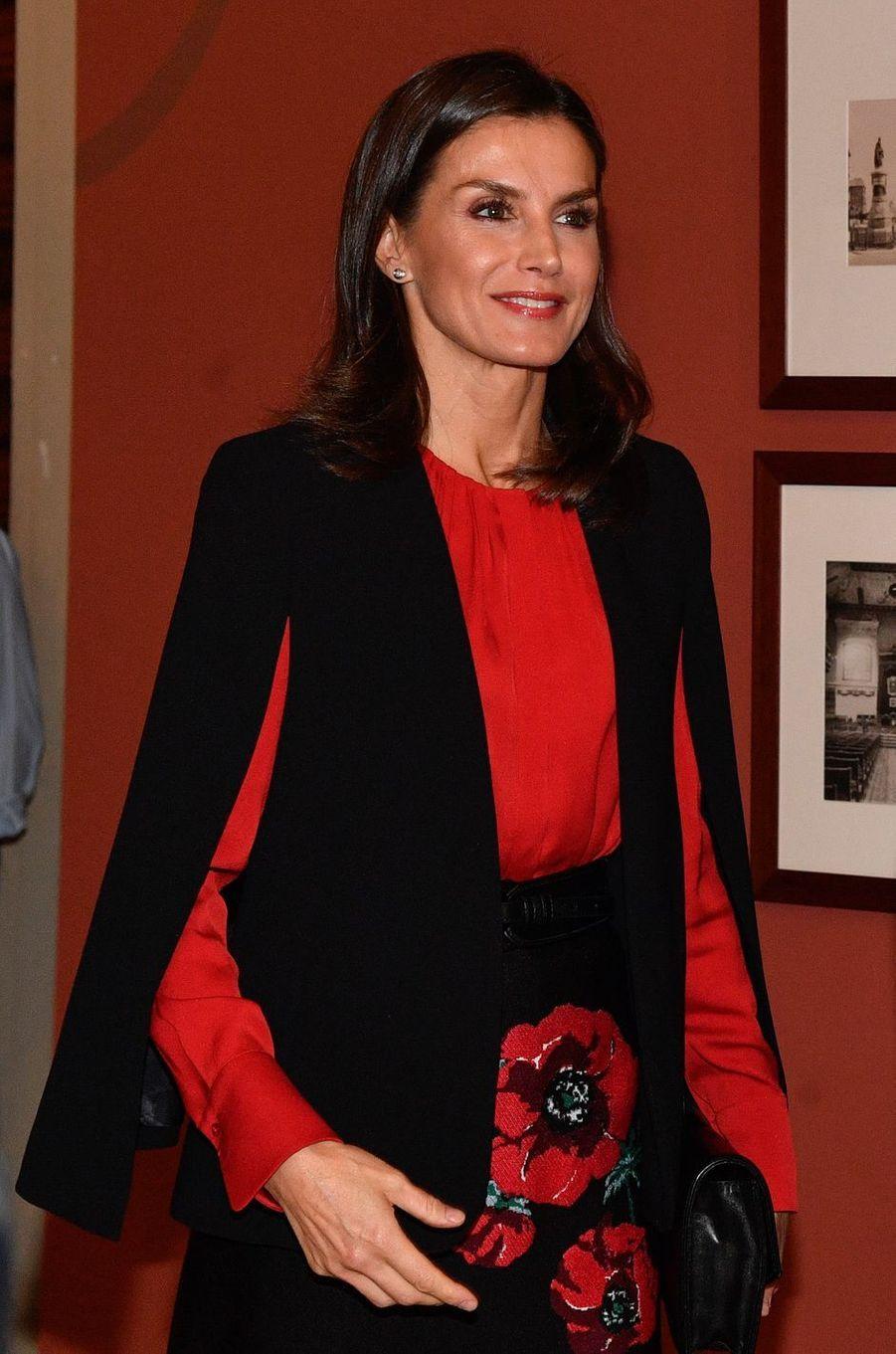 La reine Letizia d'Espagne à Séville, le 8 novembre 2019