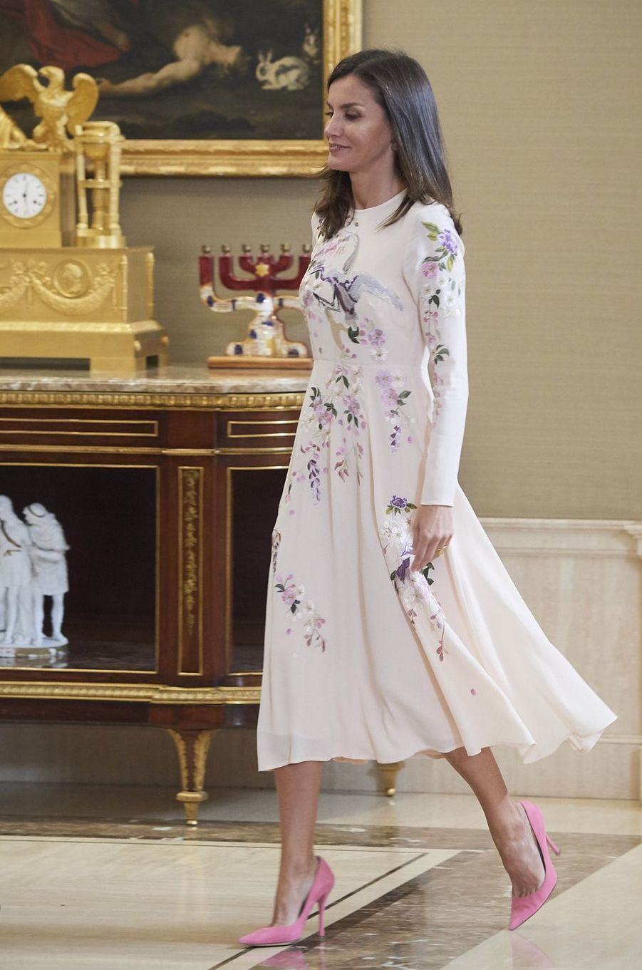 La reine Letizia d'Espagne au palais de la Zarzuela à Madrid, le 8 juillet 2019