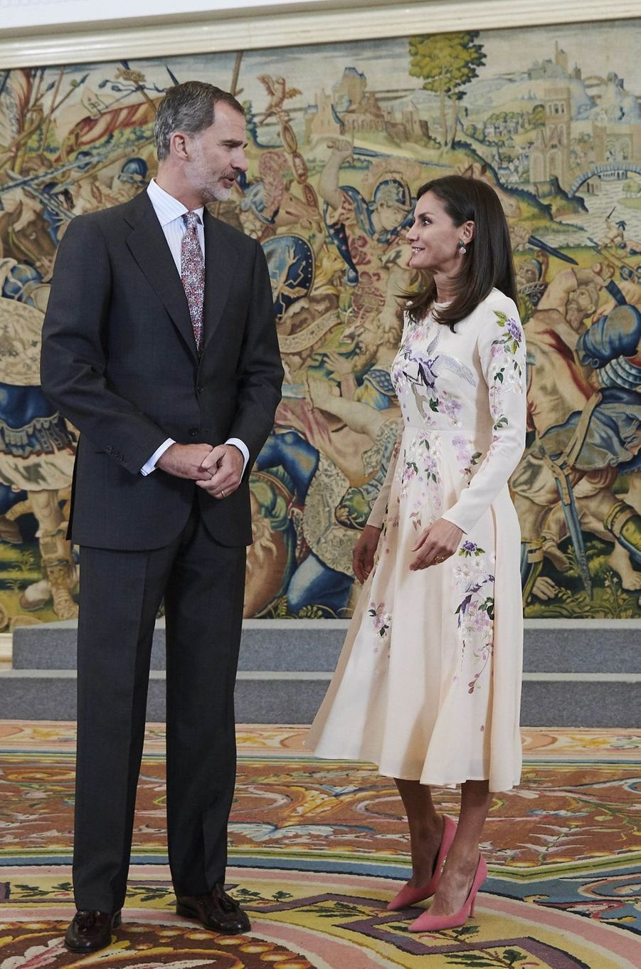 La reine Letizia et le roi Felipe VI d'Espagne à Madrid, le 8 juillet 2019