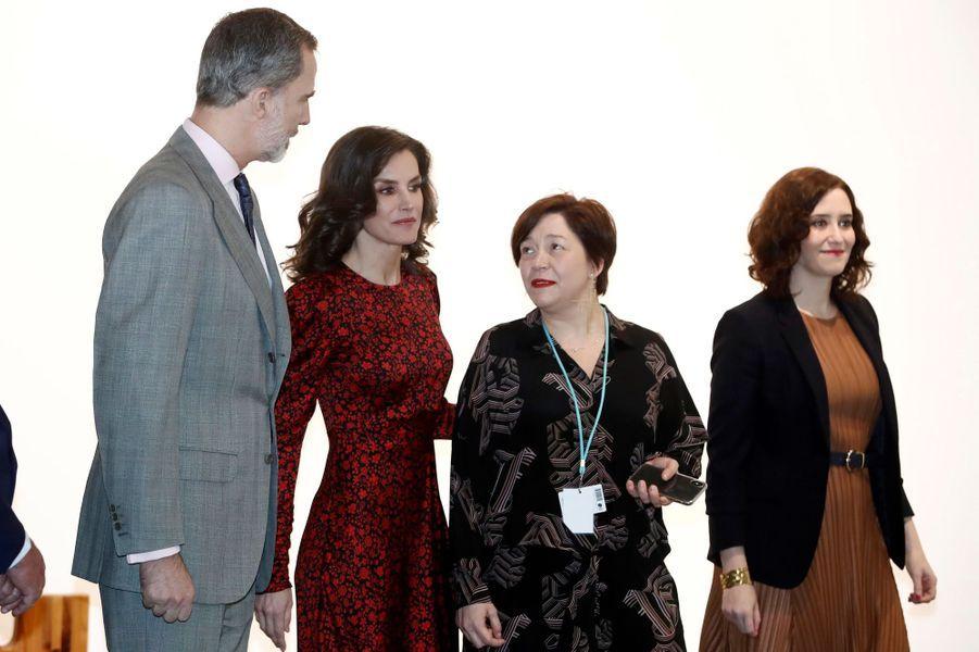 La reine Letizia et le roi Felipe VI d'Espagne à Madrid, le 27 février 2020