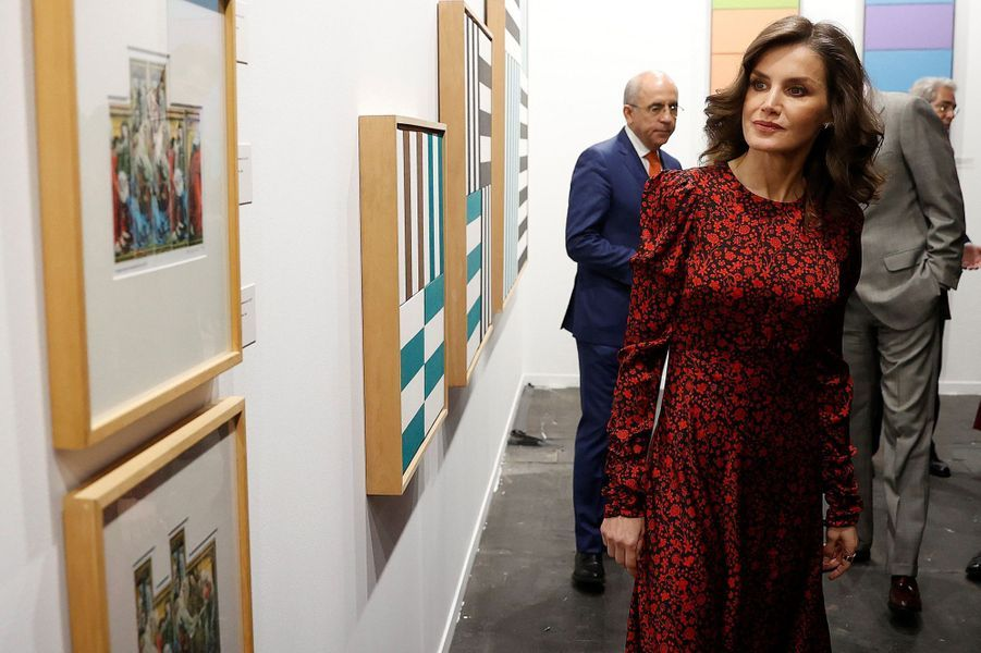 La reine Letizia d'Espagne à Madrid, le 27 février 2020