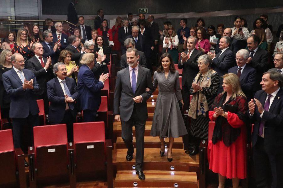 La reine Letizia avec le roi Felipe VI d'Espagne à Madrid, le 26 novembre 2019
