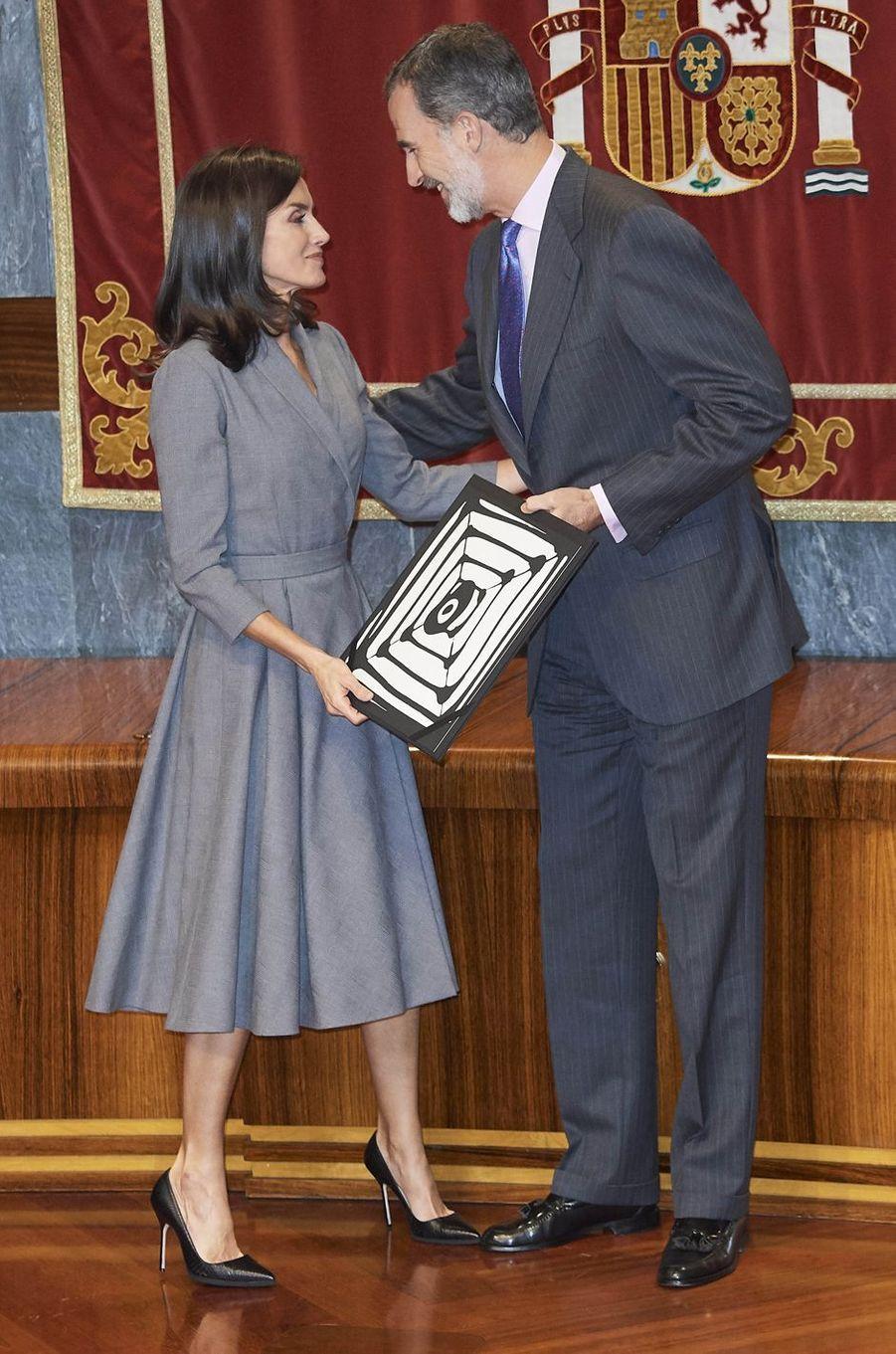 La reine Letizia et le roi Felipe VI d'Espagne à Madrid, le 26 novembre 2019