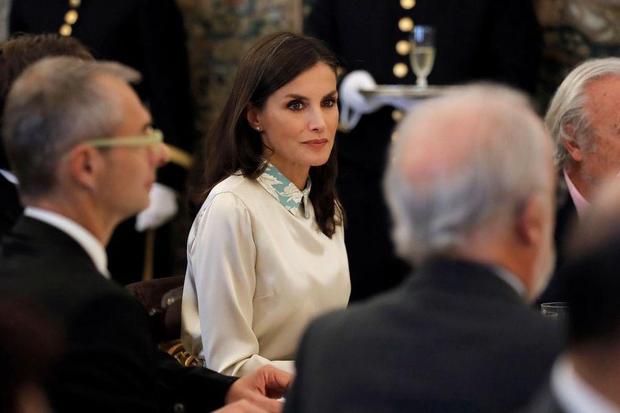 La reine Letizia d'Espagne à Aranjuez, le 2 octobre 2019