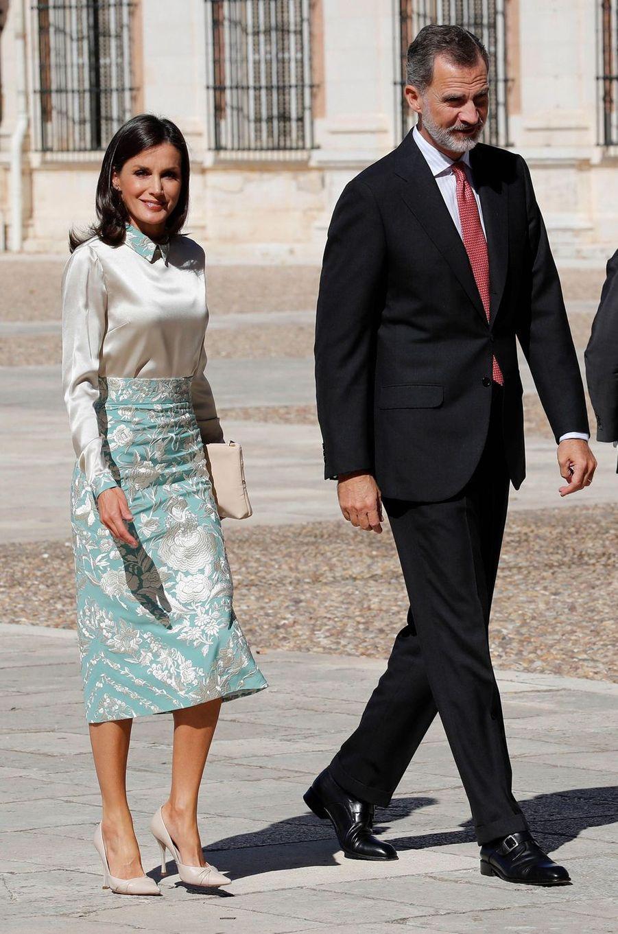 La reine Letizia et le roi Felipe VI d'Espagne, le 2 octobre 2019 à Aranjuez