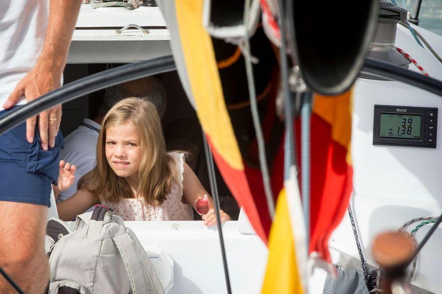 La princesse Leonor d'Espagne à Palma de Majorque, le 8 août 2015