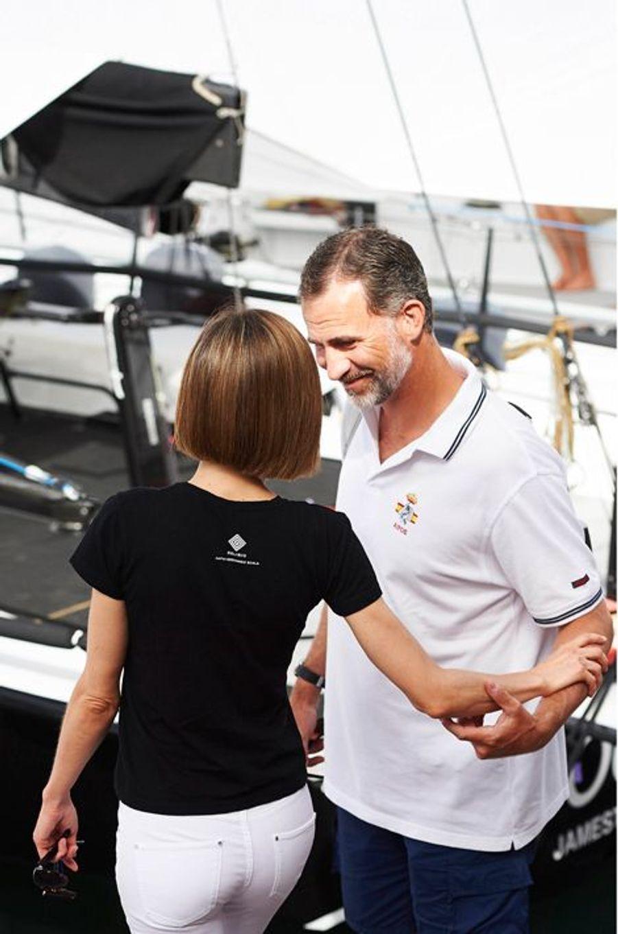 La reine Letizia et le roi Felipe VI d'Espagne à Palma de Majorque, le 8 août 2015