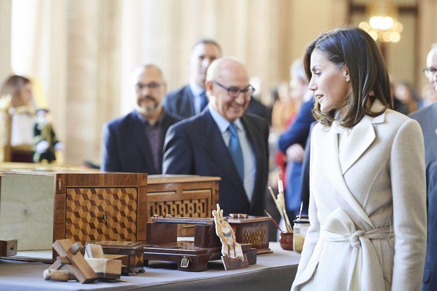 La reine Letizia d'Espagne au Palais royal à Madrid, le 29 novembre 2018