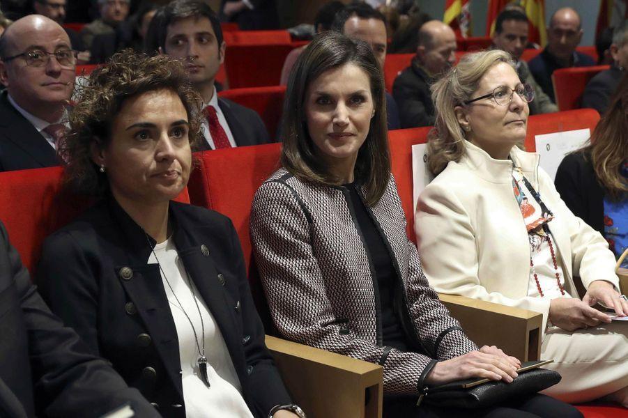 La reine Letizia d'Espagne à Madrid, le 5 avril 2018