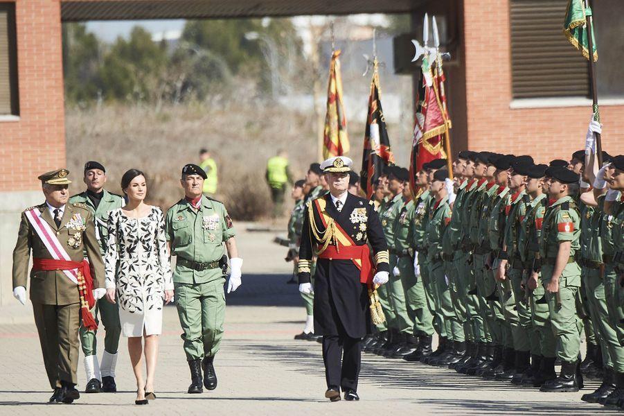 La reine Letizia d'Espagne à une cérémonie militaire à Paracuellos del Jarama, le 23 février 2019