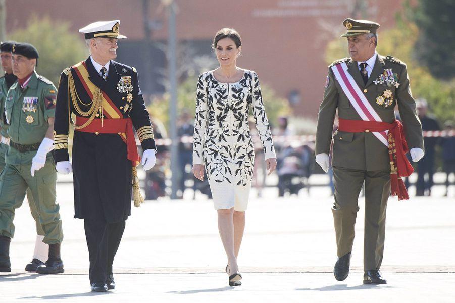 La reine Letizia d'Espagne sur une base militaire à Paracuellos del Jarama, le 23 février 2019