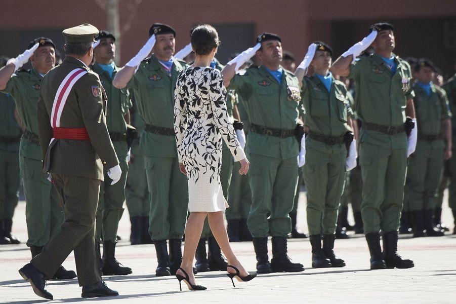 La reine Letizia d'Espagne à Paracuellos del Jarama près de Madrid, le 23 février 2019
