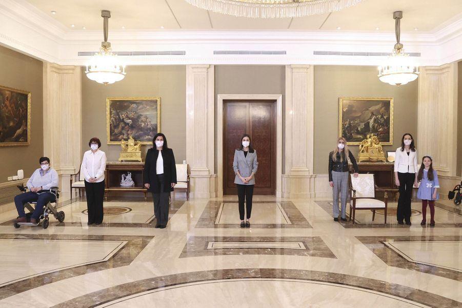 La reine Letizia d'Espagne à Madrid, le 11 février 2021