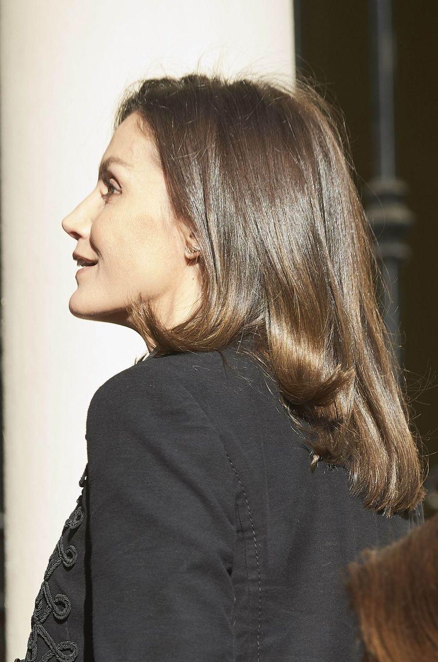La reine Letizia d'Espagne à Madrid, le 9 janvier 2019