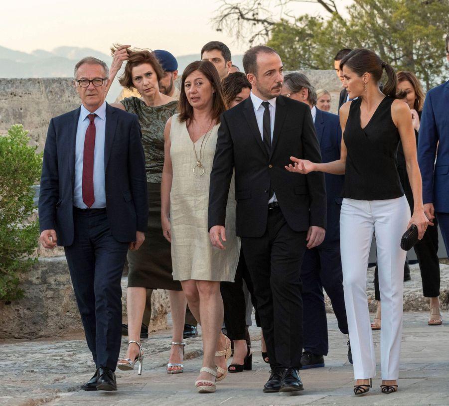 La reine Letizia d'Espagne au château de Bellver sur l'île de Majorque aux Baléares, le 2 juillet 2019