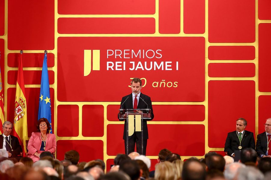 Le roi Felipe VI d'Espagne à Valence pour les Prix roi Jaime Ier, le 7 novembre 2018
