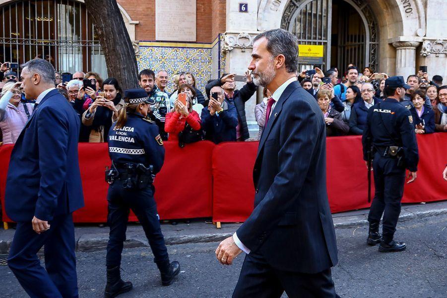 Le roi Felipe VI d'Espagne à Valence, le 7 novembre 2018