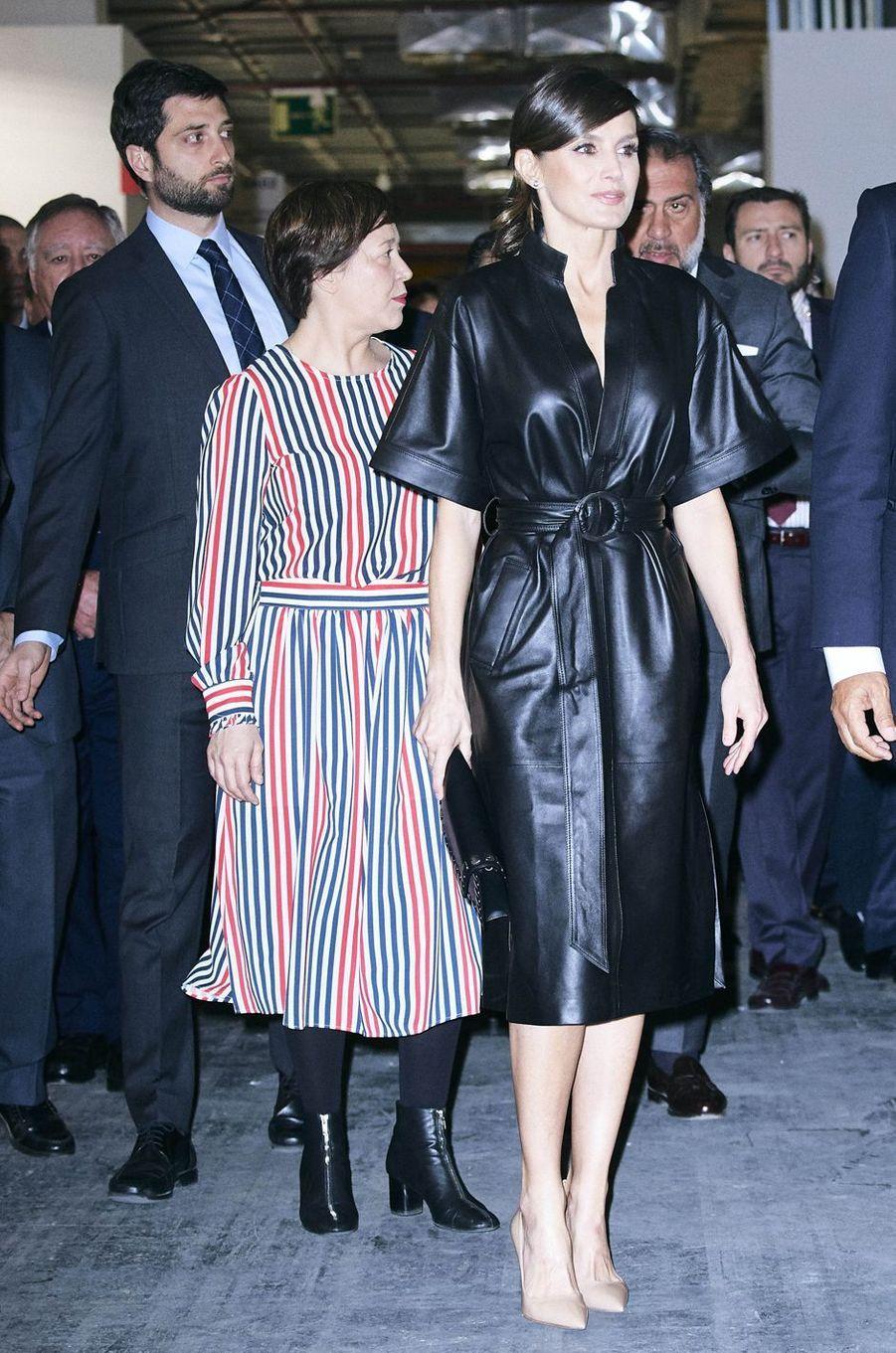 La reine Letizia d'Espagne avec la First Lady péruvienne à Madrid, le 28 février 2019