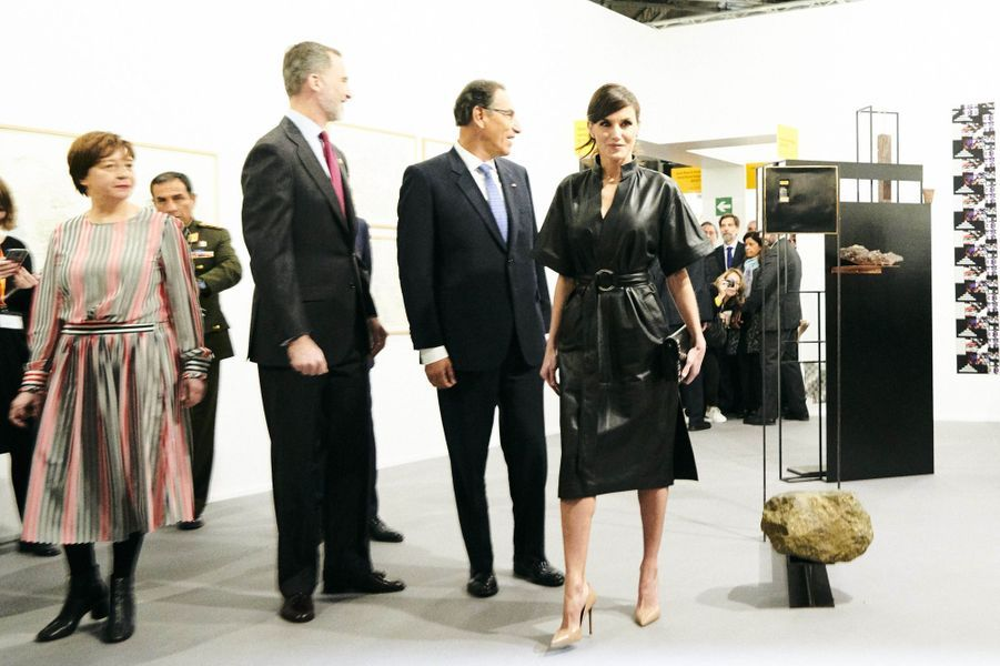 La reine Letizia et le roi Felipe VI d'Espagne avec le couple présidentiel péruvien à Madrid, le 28 février 2019