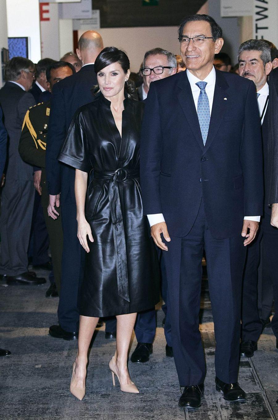 La reine Letizia d'Espagne avec le président du Pérou à Madrid, le 28 février 2019