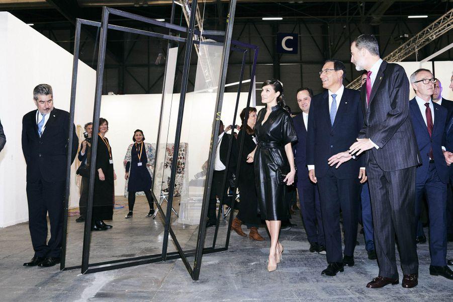 La reine Letizia et le roi Felipe VI d'Espagne avec le président péruvien à Madrid, le 28 février 2019