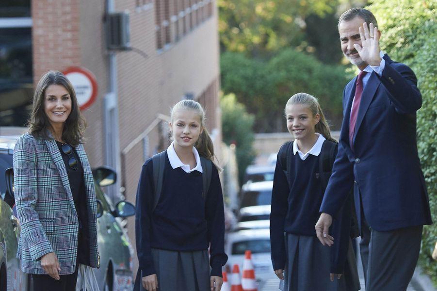 La reine Letizia, les princesses Leonor et Sofia et le roi Felipe VI d'Espagne à Madrid, le 11 septembre 2019