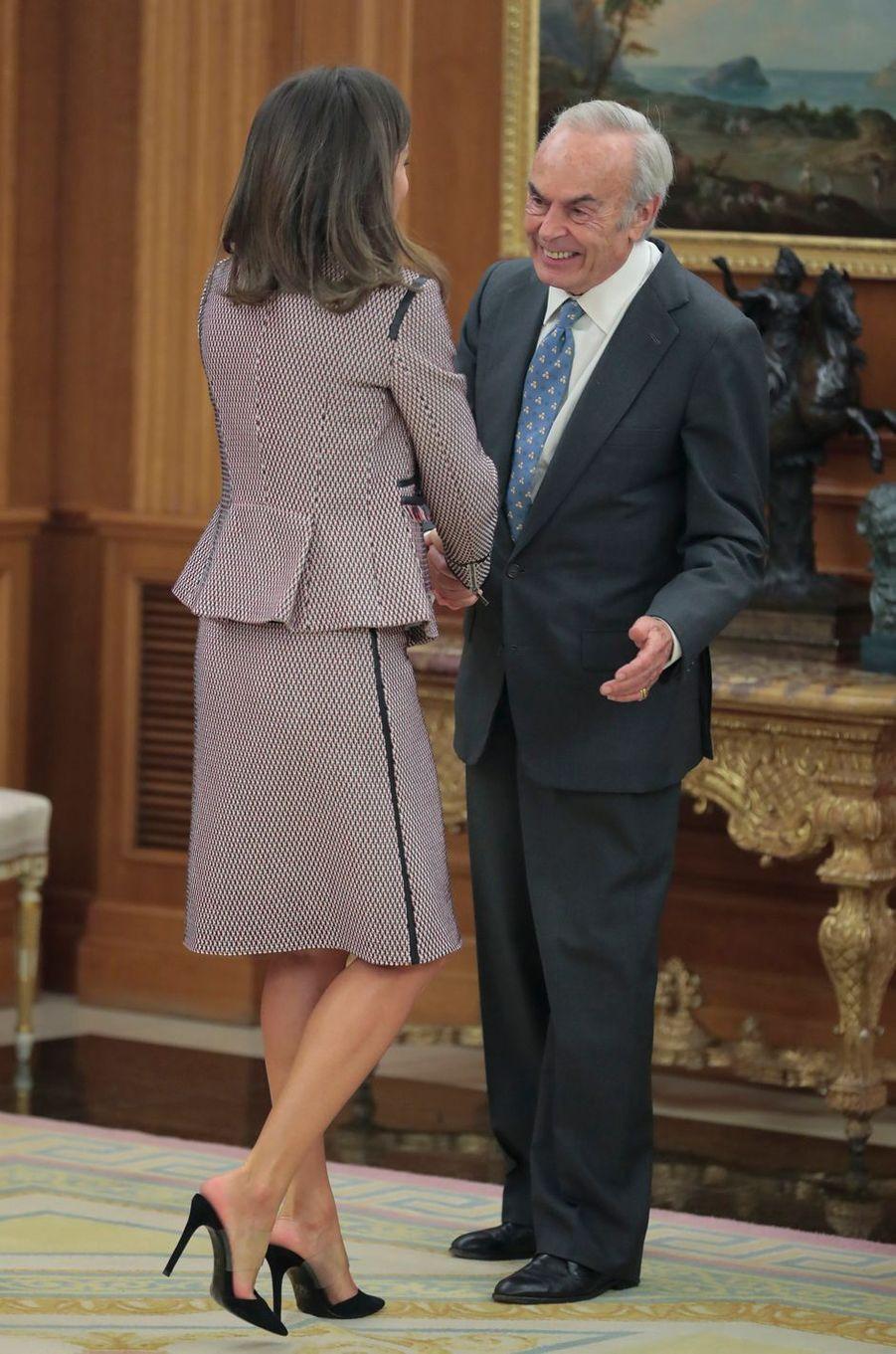 La reine Letizia d'Espagne, vue de dos, à Madrid, le 26 septembre 2018