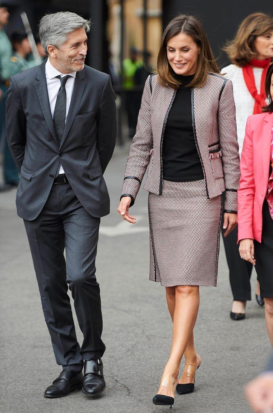 La reine Letizia d'Espagne à la Direction générale de la Garde civile à Madrid, le 26 septembre 2018