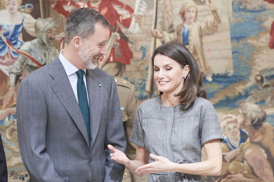 La reine Letizia et le roi Felipe VI d'Espagne au palais du Pardo à Madrid, le 21 février 2019