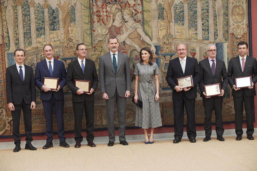 La reine Letizia et le roi Felipe VI d'Espagne à Madrid, le 21 février 2019