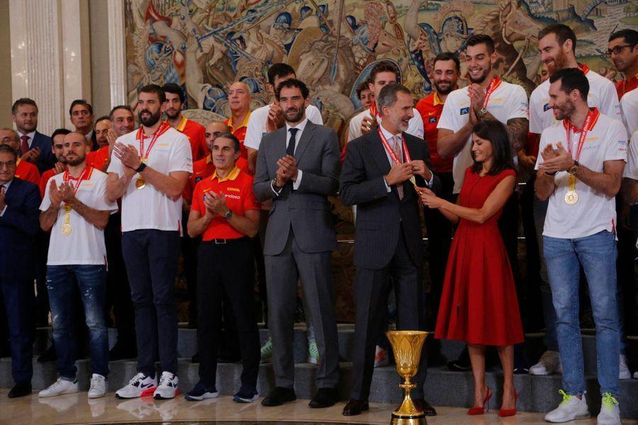 La reine Letizia et le roi Felipe VI d'Espagne à Madrid, le 16 septembre 2019