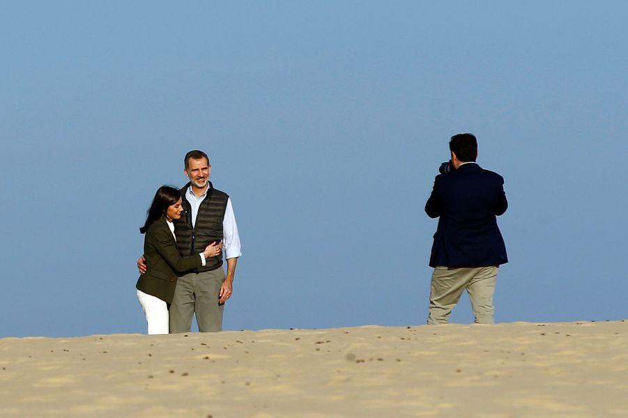 La reine Letizia et le roi Felipe VI d'Espagne dans le parc naturel de Doñana, le 14 février 2020