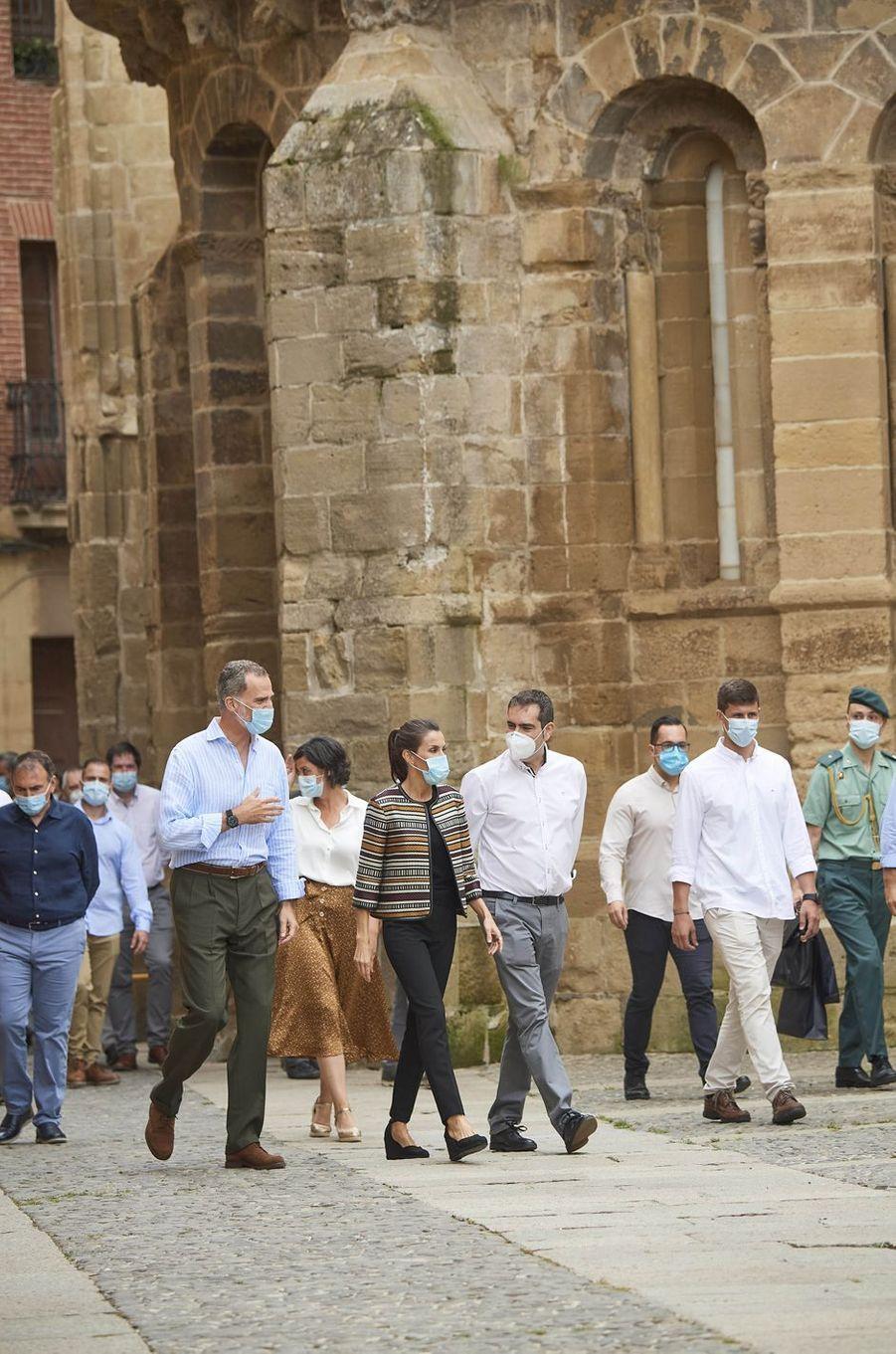 La reine Letizia et le roi Felipe VI d'Espagne à Santo Domingo de la Calzada, le 10 juillet 2020