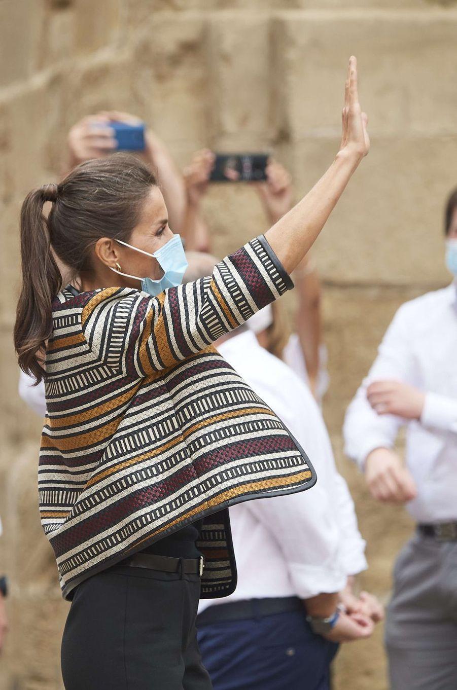 La reine Letizia d'Espagne dans la région de La Rioja, le 10 juillet 2020