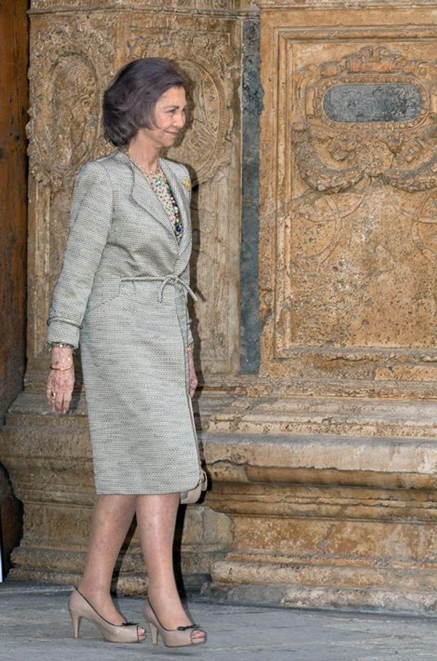 L'ex-reine Sofia d'Espagne à Palma de Majorque, le 5 avril 2015