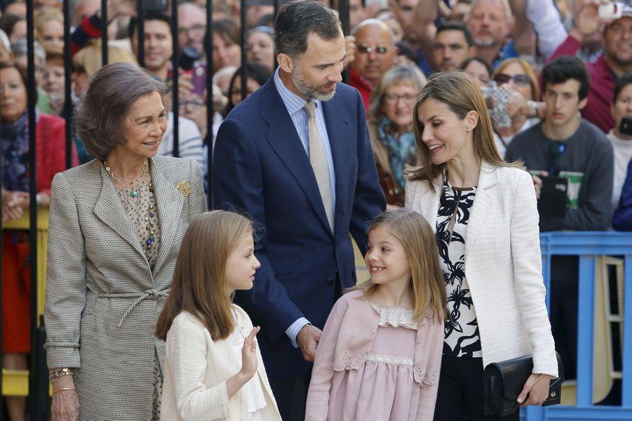 La famille royale d'Espagne à Palma de Majorque, le 5 avril 2015