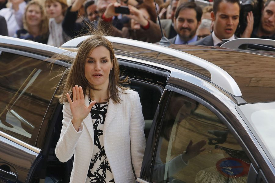 La reine Letizia d'Espagne à Palma de Majorque, le 5 avril 2015