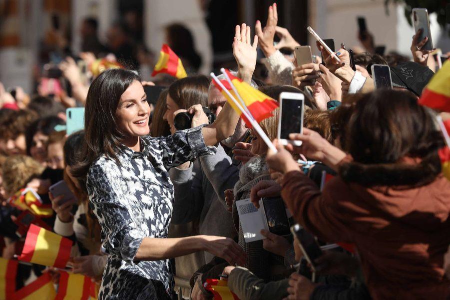 La reine Letizia d'Espagne, le 6 février 2020 à Ecija