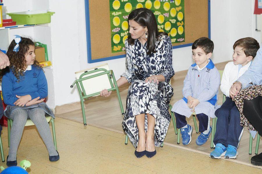 La reine Letizia d'Espagne à Ecija, le 6 février 2020