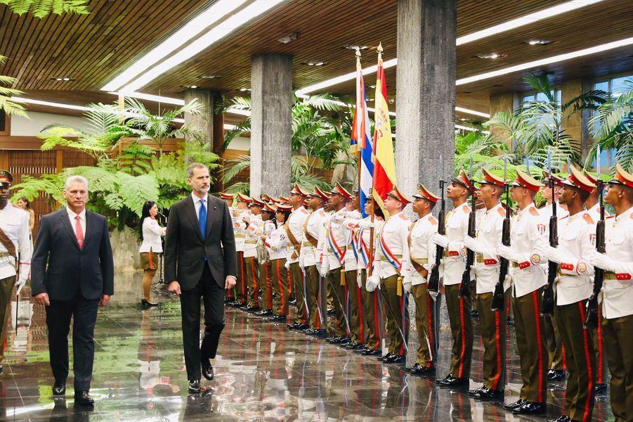 Le roi Felipe VI d'Espagne et le président de la République de Cuba Miguel Diaz-Canel à La Havane, le 12 novembre 2019