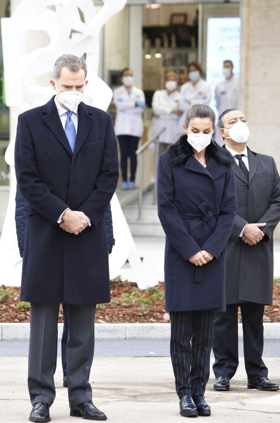 La reine Letizia et le roi Felipe VI d'Espagne à Madrid, le 18 décembre 2020