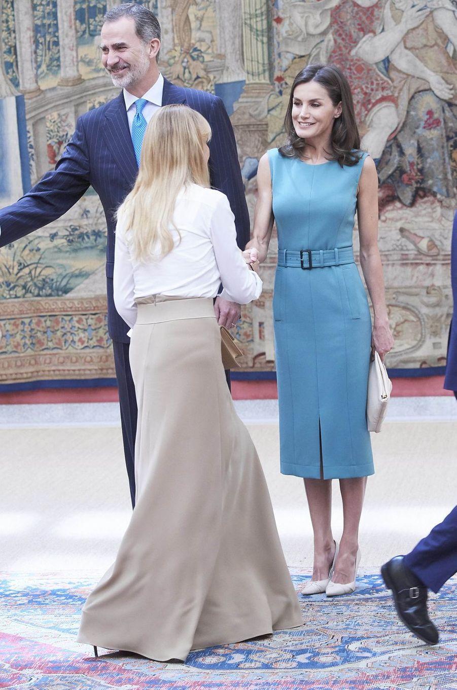 La reine Letizia et le roi Felipe VI d'Espagne au palais du Pardo à Madrid, le 26 juin 2019