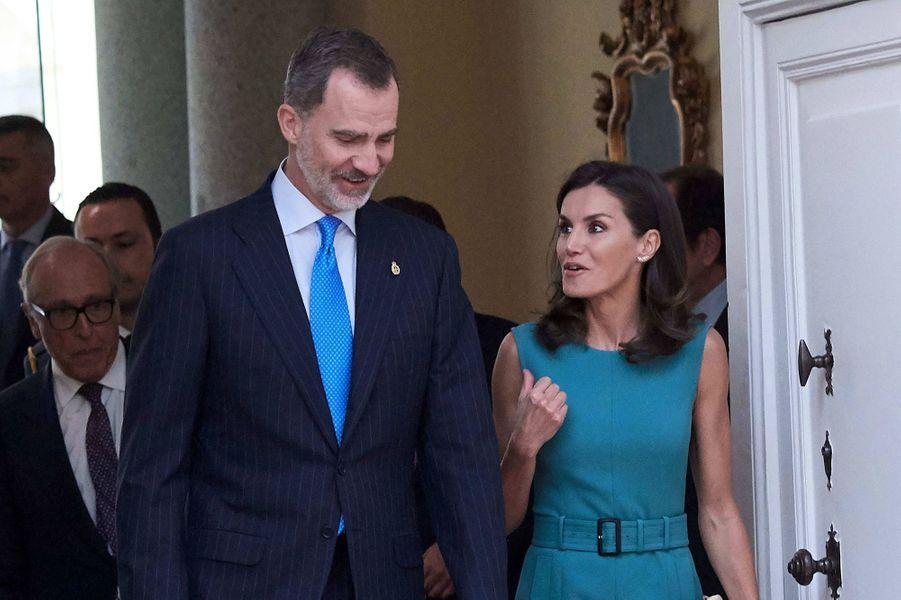 La reine Letizia et le roi Felipe VI d'Espagne à Madrid, le 26 juin 2019