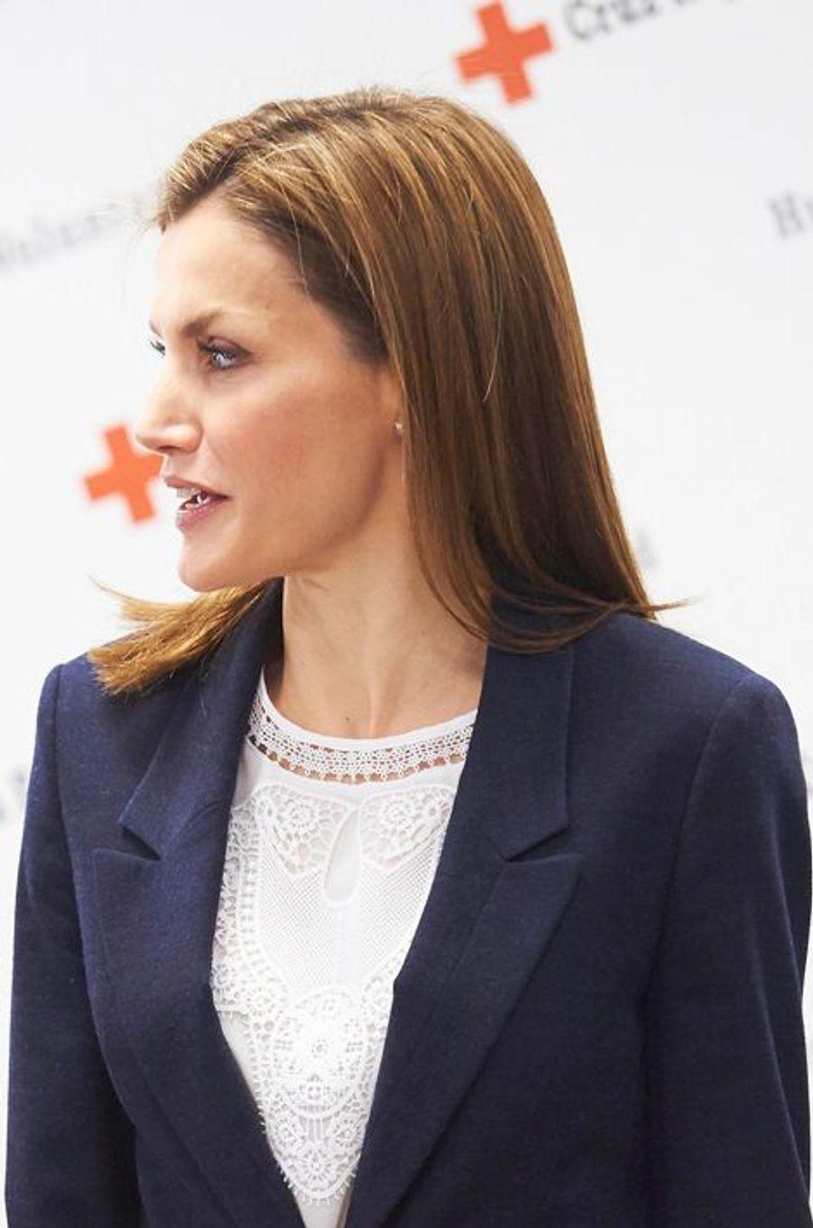 La reine Letizia d'Espagne à Madrid, le 7 avril 2015